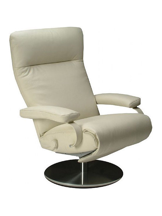 Sumi Swivel Recliner - Swivel Leather Chair Recliner available in a variety of colors. Zero gravity relaxation in contemporary style.