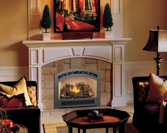 Fireplace Xtrordinair by Travis Industries - FPX 864 High-Output GreenSmart Gas Fireplace - Shown with the French Country Face, Award Winning Ember-Fyre Burner with Hi-Def log set, and Stucco Fireback.