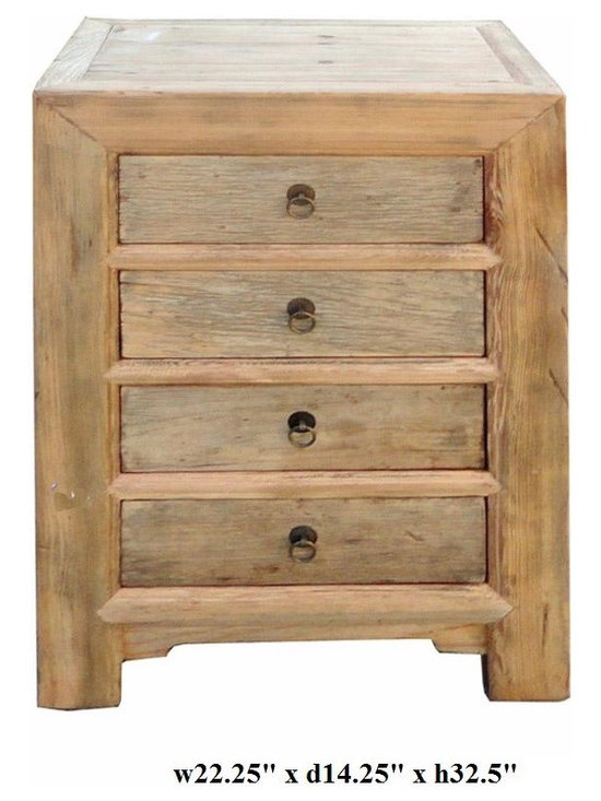 Rustic Natural Raw Wood 4 Drawers Chest -