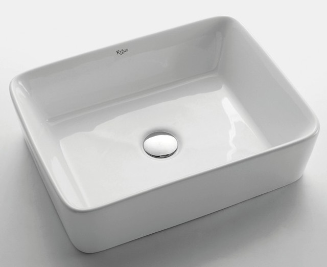 Bathroom Sink White : Kraus KCV-121 White Rectangular Ceramic Sink - Modern - Bathroom Sinks ...