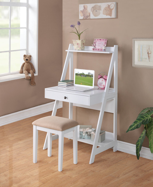 White Computer Desk with Stool - Contemporary - Furniture ...