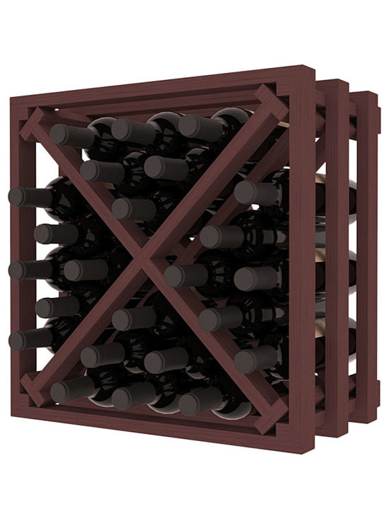 Lattice Stacking X Wine Cube in Pine with Walnut Stain - Designed to stack one on top of the other for space-saving wine storage our stacking cubes are ideal for an expanding collection. Use as a stand alone rack in your kitchen or living space or pair with the 16-Bottle Cubicle Wine Rack and/or the Stemware Rack Cube for flexible storage.