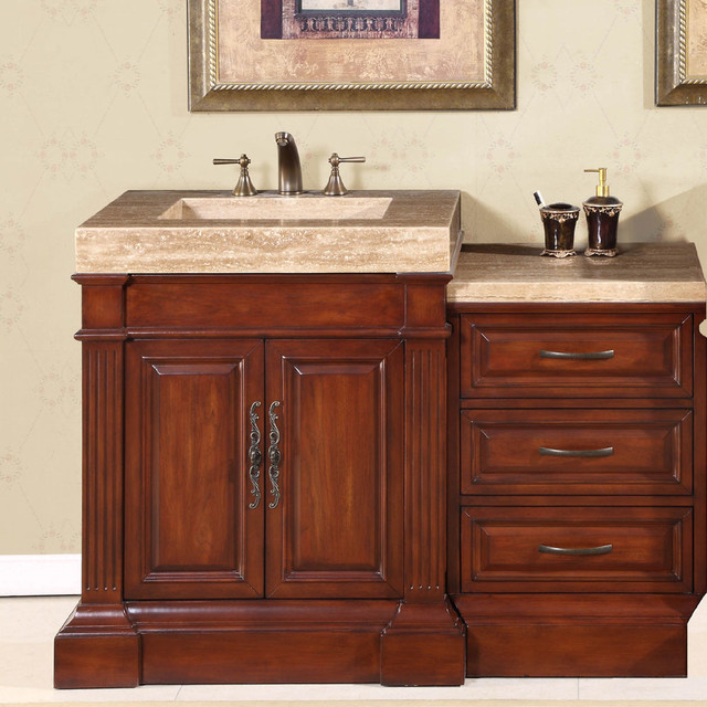 Silkroad Exclusive Travertine Top 51 Inch Single Sink Vanity Cabinet Contem