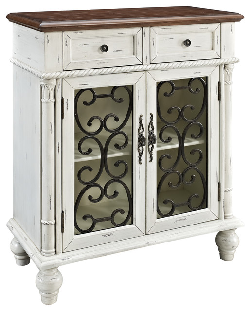 Powell shabby white 2 drawer 2 door console for Sofa table with drawers and doors