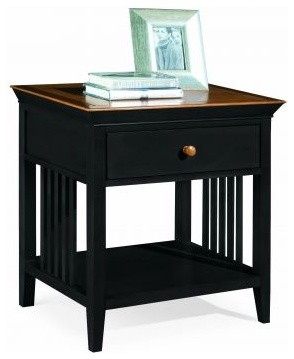 American Drew 181-400BM Drawer Night Stand - Black w/ Maple Top Sterling Pointe traditional-nightstands-and-bedside-tables