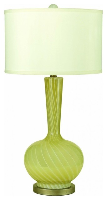 cleo table lamp green glass cream swirls cream shade. Black Bedroom Furniture Sets. Home Design Ideas