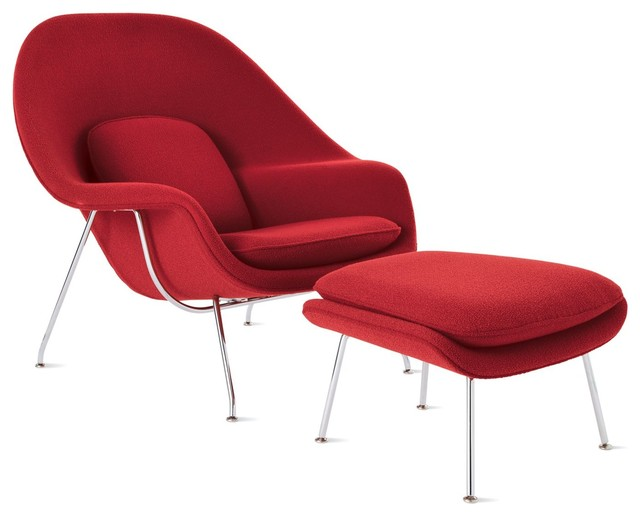 Womb™ Chair and Ottoman in Fabric, Chrome Frame modern-chairs