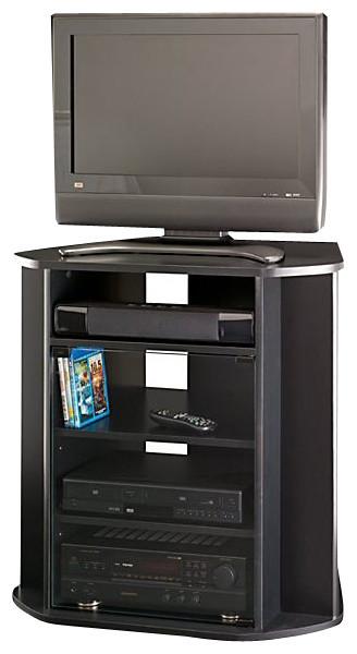 Bush Myspace Visions Tall Corner Tv Stand In Black Finish