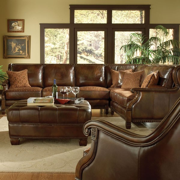 Aico Furniture Windsor Court Leather 2 Piece Sectional Sofa With Right Arm Fac Mediterranean