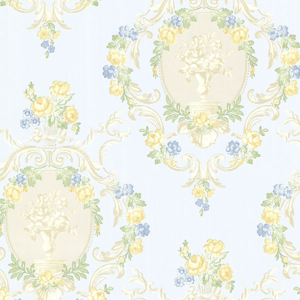 Maybelle Blue Cameo Damask Wallpaper. traditional-wallpaper