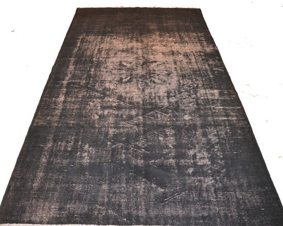 Charcoal Grey Overdyed Rug - Rich color with hints of underlying pattern revive well-loved vintage Turkish carpets into a truly fabulous area rug.