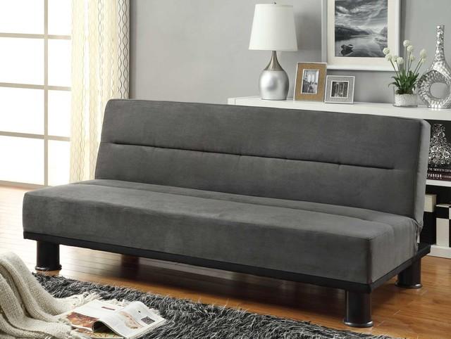 Callie Gray Microfiber Clack Sofa Bed Contemporary