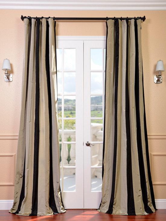 Sake Faux Silk Taffeta Stripe Curtains & Drapes -