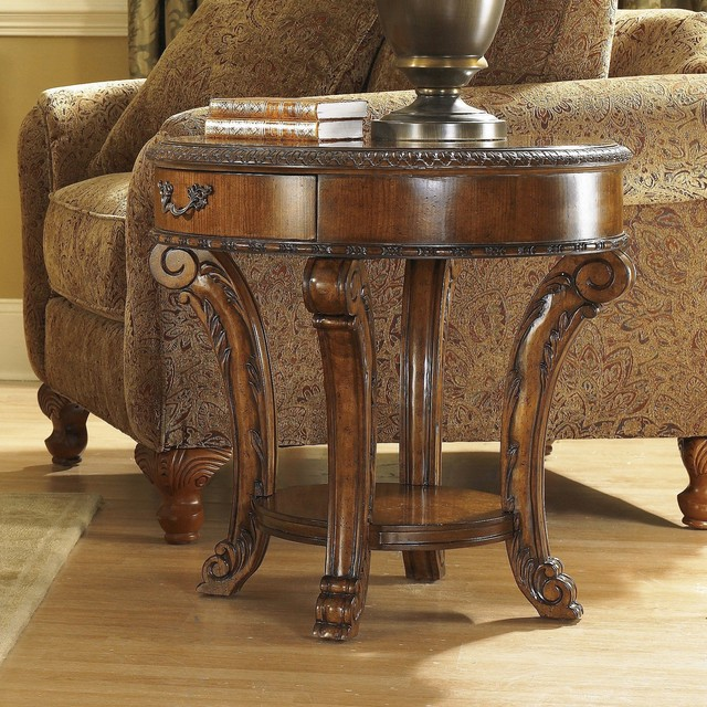 Art furniture old world round end table in warm pomegranate 43303 2606 traditional Traditional coffee tables and end tables