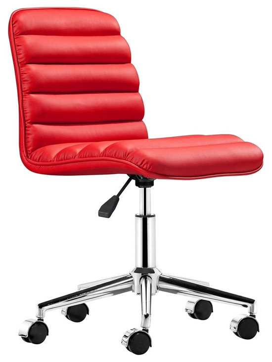 "Zuo - Zuo Admire Red Armless Office Chair - Another fabulous design from Zuo Modern Contemporary. With its retro look and modern construction the Admire office chair is perfect for any office space. It features a leatherette sling seat and a chrome steel frame that is ultra modern. The base has chrome capped wheels making it easy to transport this chair from one office space to the next. Chrome steel frame. Chrome capped wheels. Red leatherette sling seat. Adjustable height. Armless design. Seat adjusts 18"" to 21 1/4"" high. Overall 31"" to 34 1/2"" maximum high. 18 1/4"" wide. 23 1/2"" deep.  Chrome steel frame.  Chrome capped wheels.  Red leatherette sling seat.  Adjustable height.  Armless design.  Some assembly required.  Seat adjusts 18"" to 21 1/4"" high.  Overall 31"" to 34 1/2"" maximum high.  18 1/4"" wide.  23 1/2"" deep."