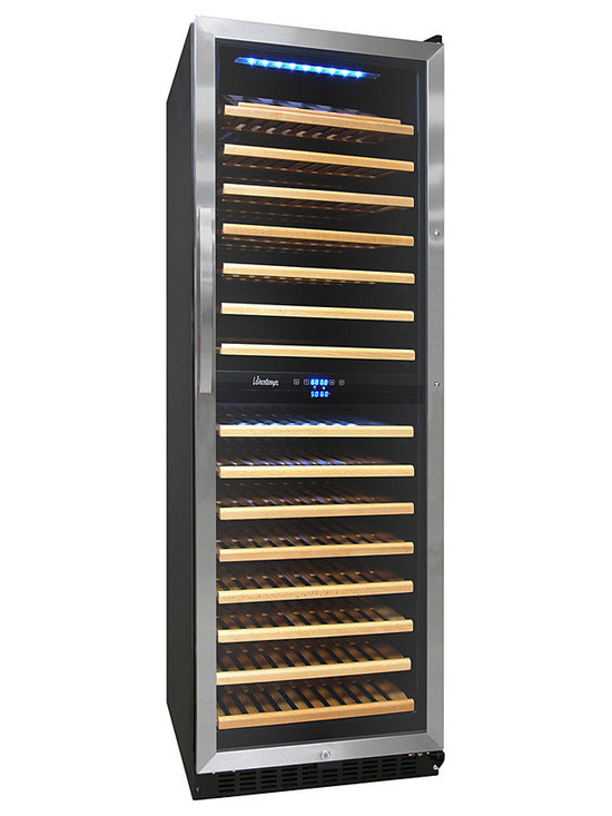 Vinotemp - Vinotemp - 155-Bottle Dual Zone Wine Cooler - For sleek, stylish and sophisticated wine storage for your prized collection, the VT-155SBW by Vinotemp is the perfect solution. This dual zone wine cooler allows you to set two separate temperatures to provide optimum conditions for up to 155 bottles of both your reds and whites. Convenient digital temperature controls make setting the ideal temperature a simple task.