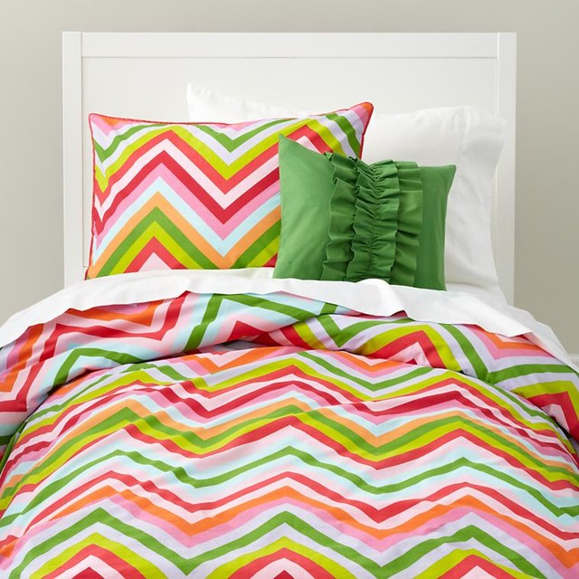 Pink And Green Chevron Stripe Duvet Cover contemporary kids bedding