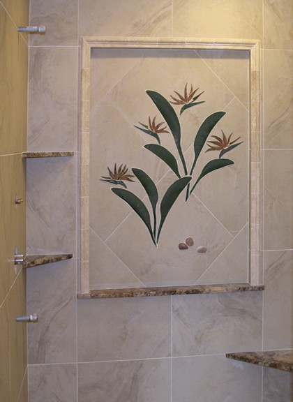Tropical Cut Stone 3D Tile Murals tropical accessories and decor