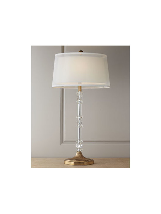 "John-Richard Collection - John-Richard Collection ""Sophisticated"" Crystal Lamp - With its tall stacked-crystal candlestick base and veiled shade, this lamp is sophistication personified. From the John-Richard Collection. Handcrafted of optical-glass crystal. Silk shade. Uses one 60-watt bulb. 18""W x 10""D x 35.5""T. Imported. ..."
