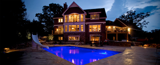 Swimming Pool with Slide traditional-hot-tub-and-pool-supplies