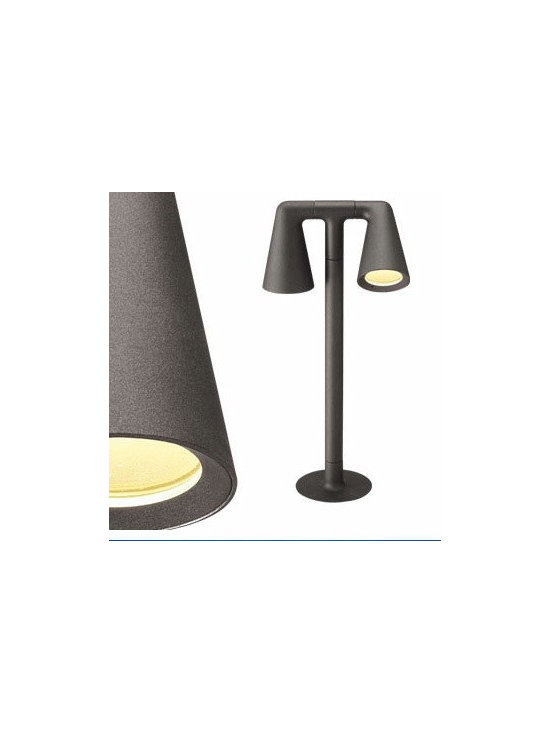 Belvedere Spot Double Floor Lamp By Flos Lighting - The Belvedere Spot Double by Flos is the family of exterior Lighting devices consisting of two (double rotation, vertical and horizontal axle) suitable for floor installations (tiled or land floor) and with remote power box; also available version with base and with stake, both solutions are characterized by the absence of embedded box.