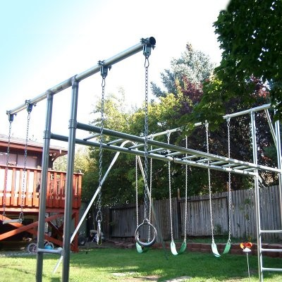 Component playgrounds abby metal swing set multicolor for Modern swing set design