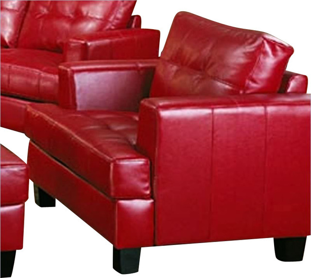 Coaster Samuel Modern Tufted Chair In Red Bonded Leather Modern Armchairs