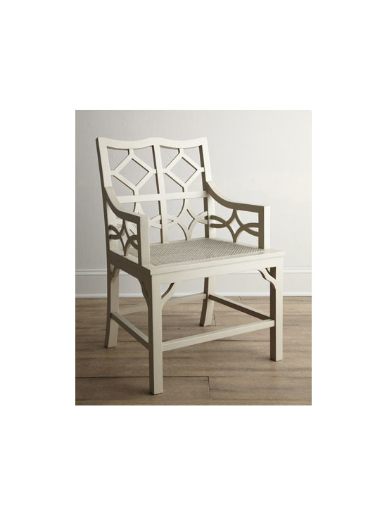 'Abrille' Diamond Armchair - The beautiful woodwork on this armchair would make for an elegant and glamorous dining space.
