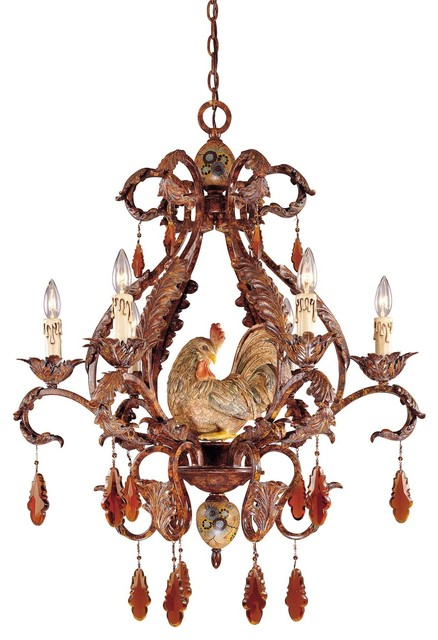 Savoy House Clyde Country Rooster Chandelier 1 590 6 125