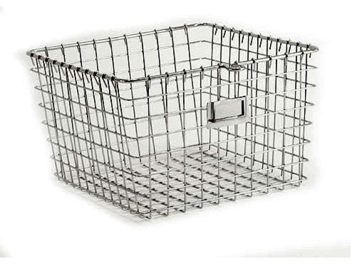 Medium Chrome Locker Basket contemporary baskets