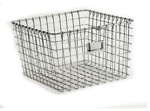 Medium Chrome Locker Basket contemporary-baskets