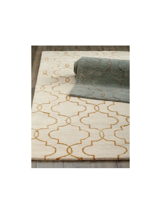 "Horchow - ""Rubenesque"" Rug - An oversized arabesque design rendered in shimmering viscose gives this handmade rug dimension and shine. Hand tufted of New Zealand wool with viscose accents. Select color when ordering. Heavy cotton backing. Sizes are approximate. Imported. ...."