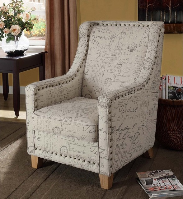 Armen Living Edmond Vintage French Fabric Chair contemporary-armchairs-and-accent-chairs