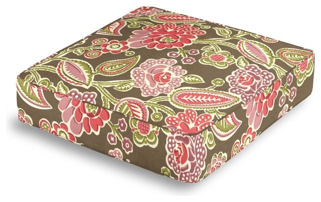 Floor Box Pillows : Pink & Green Playful Floral Box Floor Pillow - Transitional - Pillows - by Loom Decor