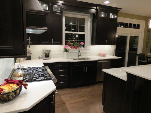kitchen remodel with dark cabinets transitional