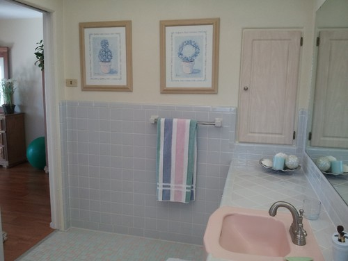 How do I update this pink and blue tiled bathroom to sell ...