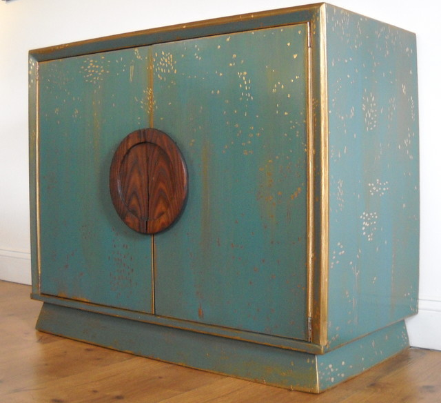 Glam Teal and Gold Cabinet - Eclectic - Buffets And Sideboards - other ...