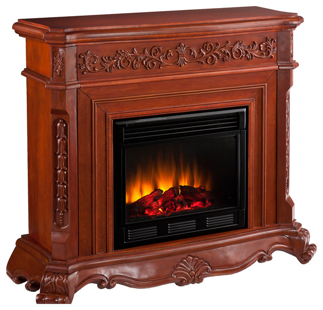 Seneca Fireplace, Classic Mahogany Finish, Electric traditional-indoor-fireplaces