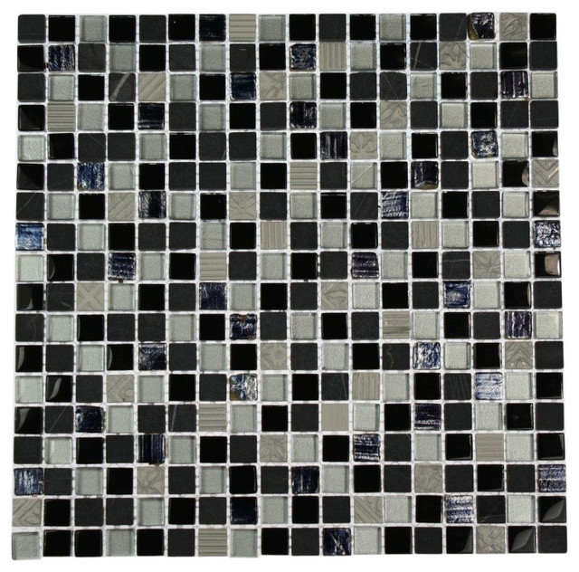 Metallic Etched Black Ice Blend Marble & Glass Tiles contemporary-tile