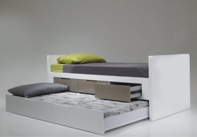 Jack amp jill twin trundle bed high gloss white modern beds by