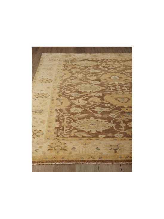 "Horchow - Divinity Oushak Rug, 8' x 10' - We love the ""faded glory"" look of this handmade wool-pile rug with its oversized motif rendered in warm, earthy browns. Hand knotted of New Zealand wool. Size is approximate. Imported. Please note: Rugs (especially wool rugs) are prone to a natural...."