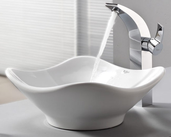 "Kraus C-KCV-135-14700CH White Tulip Ceramic Sink and Illusio Faucet - APPLY COUPON CODE ""EDHOUZ30"" AT CHECKOUT. JUST OUR WAY OF SAYING THANKS."