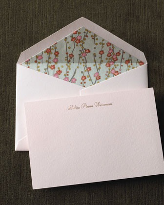 Crane & Co. 50 Pink Thermographed Cards & Envelopes traditional-desk-accessories