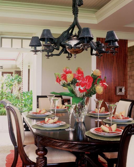 Lanikai Beach Grand Cottage tropical-dining-room
