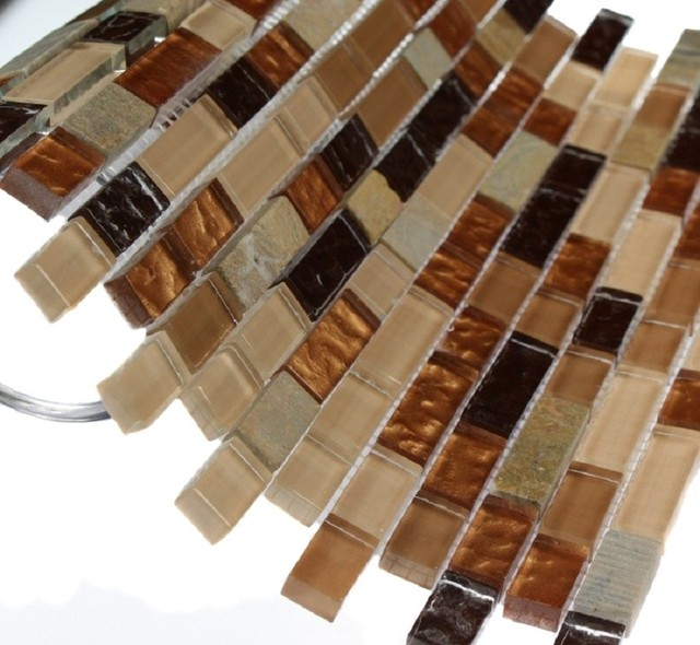 "GOLDEN ROAD BLEND BRICKS 1/2"" X 2"" MARBLE & GLASS MOSAICS BRICKS modern-tile"