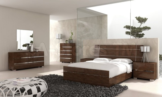 Dream modern 5 pc bedroom set in walnut bed 2 for New bedroom furniture