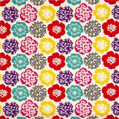 beige echino canvas fabric colourful flowers from Japan fabric