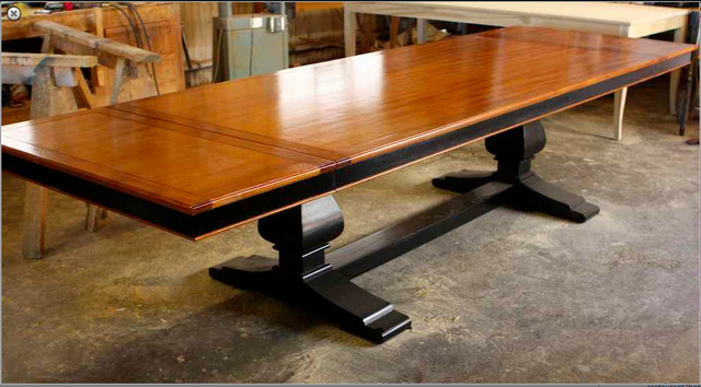 Custom mahogany trestle dining table built by mortise for Custom dining room tables