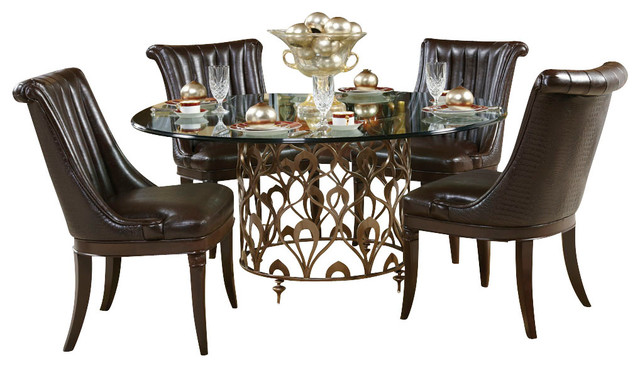 mackie 7 piece round glass dining room set traditional dining tables