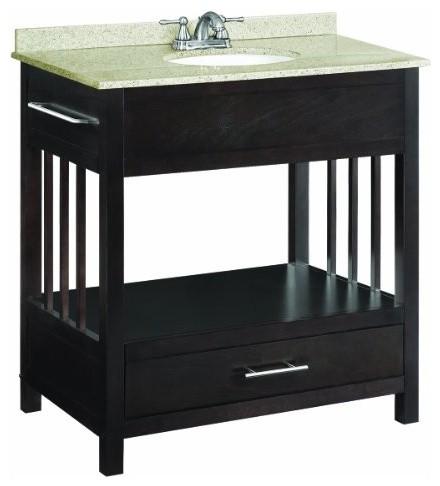 ventura espresso console vanity cabinet with 1 drawer 30